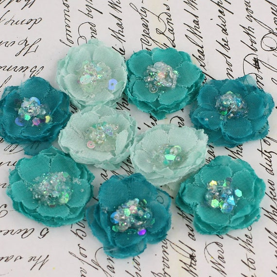BRAND NEW - Tasha Teal turquoise Mini Fabric Flowers with sparkle sequins center