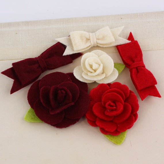 Marcelle Leading Lady Red Burgundy Ivory shade Felt blooms and bows fabric flowers with varying styles