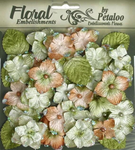 Mini velvet Hydrangeas Fabric Flowers with leaves - Sage  floral embellishments