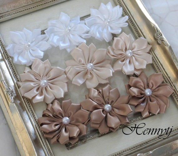 New to the Shop: Set of 9 Blissful Collections - Aurora cream tan shade Small satin Flowers with pearl center