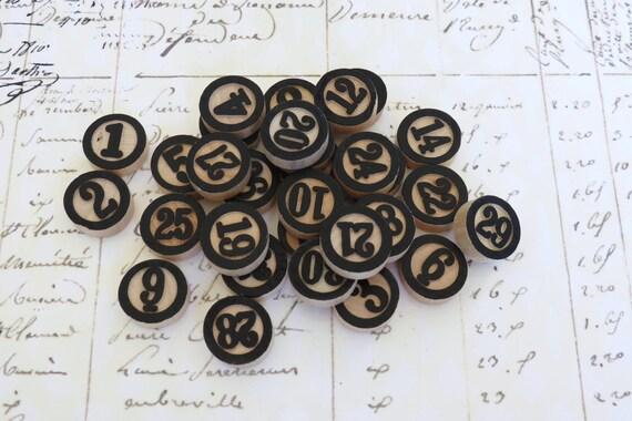 Maya Road - Wood Bingo BLACK Calendar Numbers Vintage Style for scrapbooking cardmaking