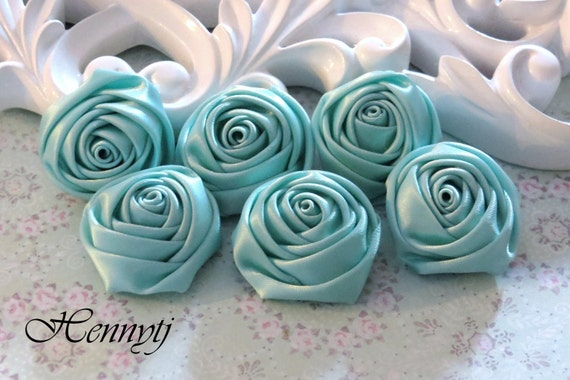 New to the Shop: Set of 6 - 30mm Adorable PETITE Rolled Satin Rose Bud Satin Rosettes Fabric flowers - Aqua Mint