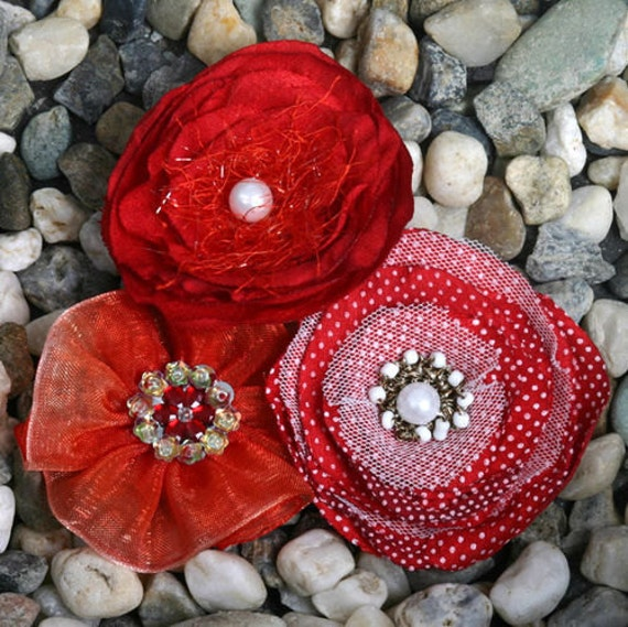 Fabric Flowers - Red shade floral embellishments Layered fabric flowers with a crystal beaded pearl rhinestone centers