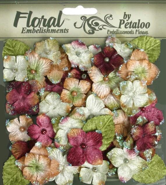 Mini velvet Hydrangeas Fabric Flowers with leaves - Maroon  floral embellishments