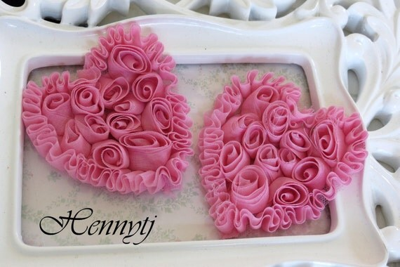 Set of 4 Beautiful Shabby Chic Chiffon Heart Appliques - Mauve Pink 3 inches