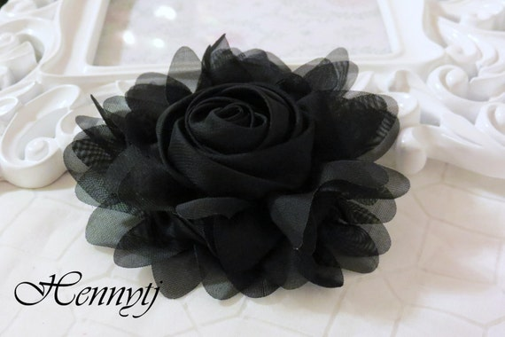 """New: Gladys Collections - Black 5"""" chiffon Rolled Rose Large flower with layers Bridal Favor Hair Applique Brooch headband"""