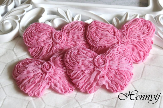 Set of 6 Shabby Chic Unique look Rolled Chiffon Butterfly Bows Applique 3.5 inch size - Mauve Pink