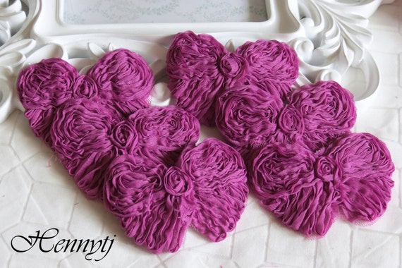 Set of 6 Shabby Chic Unique look Rolled Chiffon Butterfly Bows Applique 3.5 inch size - Deep Fuchsia