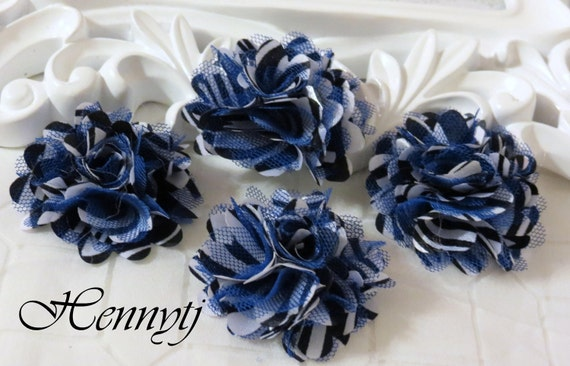 4 pcs - New Tiny Size Petite Satin and Tulle Puff Mesh Flowers without hair clip wedding bridal bridesmaid brooch flowers - Royal Blue Zebra