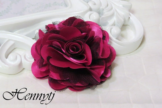 2 pcs- 3'' Satin mesh silk flowers flat back wedding bridal bridesmaid brooch flowers - Hot Pink with black tulle