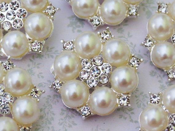 6 pcs - 25mm Silver Nickel Metal  Rhinestone Pearl FLAT BACK Buttons  - wedding / hair / dress / garment accessories / Flower Center.