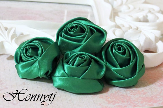 Set of 4 -  50mm Adorable Rolled Satin Rose Rosettes Fabric flowers - Emerald GREEN