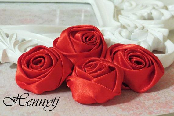 Set of 4 -  50mm Adorable Rolled Satin Rose Rosettes Fabric flowers - RED