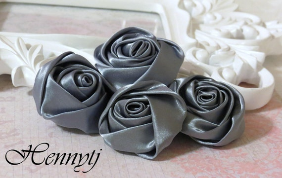 Set of 4 -  50mm Adorable Rolled Satin Rose Rosettes Fabric flowers - Dark GREY