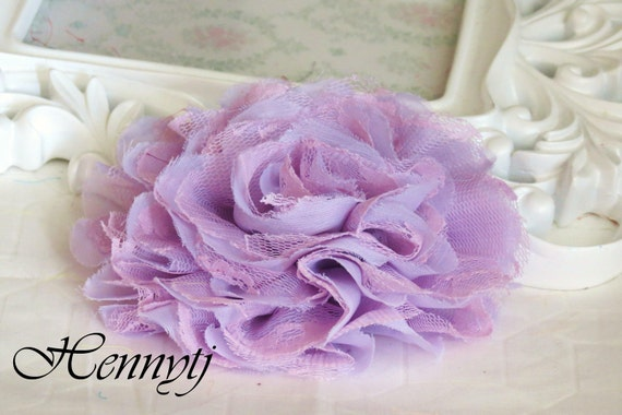 NEW COLOR : 1 pc Large Shabby Chic Frayed Chiffon Mesh and Lace Rose Fabric Flower - VIOLET