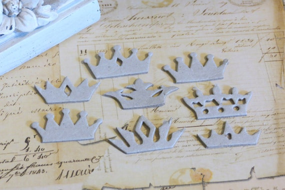28 pieces Crowns Mini Chipboard Set