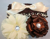 Baby Hat and headband with flowers - 5 piece gift SET - animal print hat, 2 flower clips, 1 bow clip, headband
