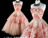 Vintage 1950s Dress Pink Tulle Wedding Prom XS/S