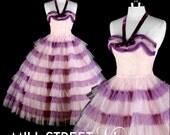 Vintage 1950s Pink Purple Velvet Halter Tulle Party Dress 0996