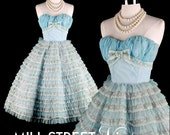 Vintage 1950s Dress . Sky Blue Chiffon . Flocked Ribbon Tiers . New old Stock . 1094