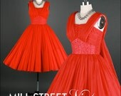 Vintage 1950s Dress . Red Chiffon . Full Skirt . Sleeveless . XS . 1383
