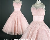Vintage 1950s Dress . Pink Tulle Lace . Strapless . Cotillion Formals . XS/S . 1378