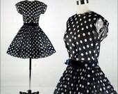 Vintage 1950s Dress . Blue Cotton . Ivory Polka Dots . Sheer . Blue Velvet Bow . Belt . XS/S . 1738