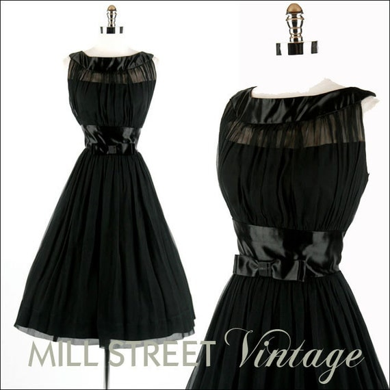1950s 50s Vintage Dress --- Black Silk Chiffon Crepe Satin Bow Tie Cocktail Party Wedding Sleeveless M L