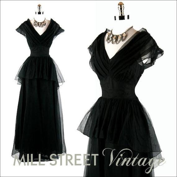 RESERVED for fierydeb ... Vintage 30s Dress  Black Mesh Sheer Peplum Waist Gown Original Matching Slip Cocktail Party Wedding XS S M
