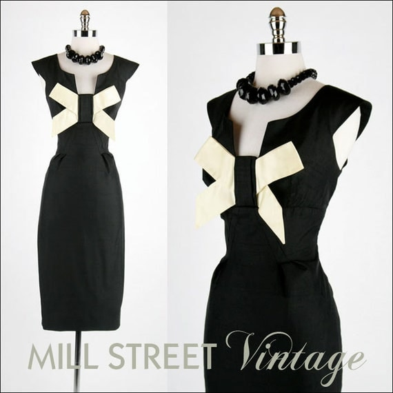 RESERVED for littlekit9 ... Vintage 1950s 50s Dress --- Black Ivory Bow Tie Wiggle Bombshell Cocktail Party Wedding Special Occasion L XL