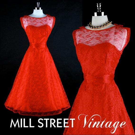 R E S E R V E D for Jill // Vintage 1950s Red Lace Sash Belt Party Dress