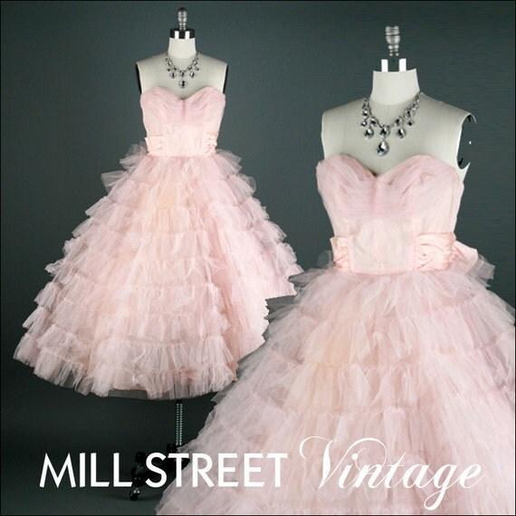r e s e r v e d ... Vintage 1950s Dress . Pink Tulle Taffeta . Strapless . 1380