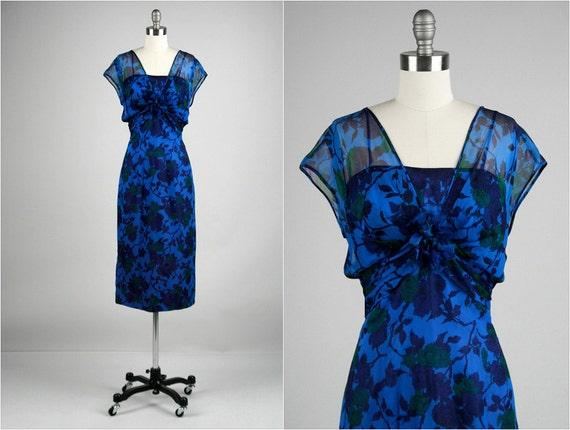 Vintage 1950s Dress . Purple Chiffon Crepe . Nat Tuman . Floral . Sleeveless . L . 1766