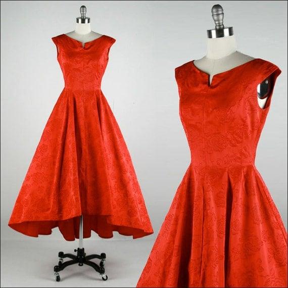 Vintage 1950s Dress . Red Satin . Flocked Flowers . Sleeveless . Asymmetrical Fishtail Hem .  Full Skirt . XS . 1852
