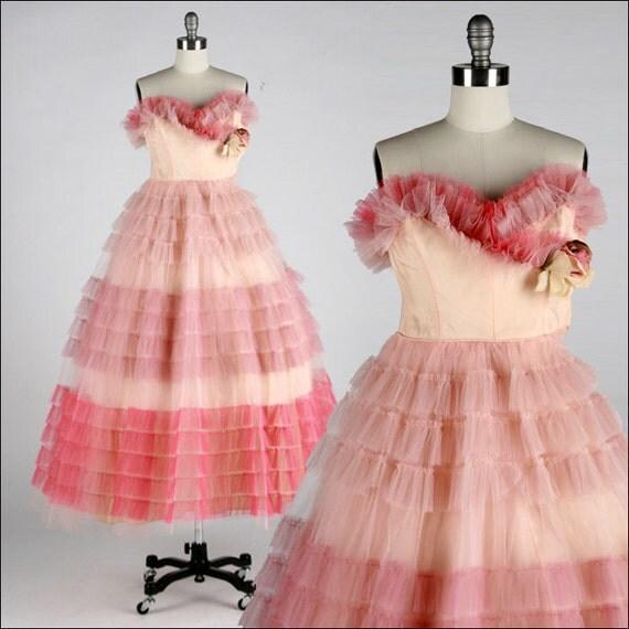 R e s e r v e d /// Vintage 1950s Dress . Ombre Pink Tulle . Full Skirt . Rosette . Shrug . Strapless . Rhinestones . XS/S . 1641