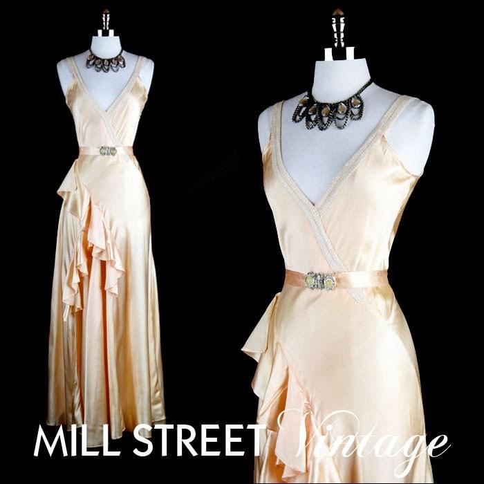 Vintage Dress 1930s 30s Peach Satin Bias Cut Ruffle Glass