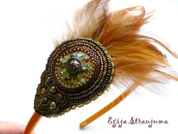 Golden feather Headband bead embroidered lampwork turtle golden headband Ready to ship