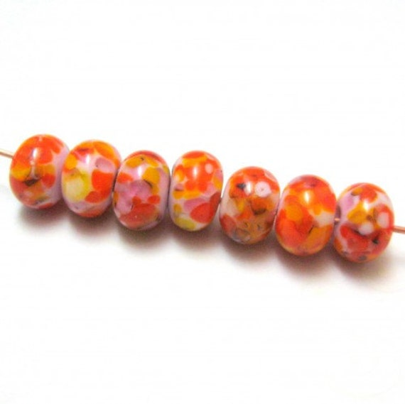 Glass Lampwork Frit Beads Handmade Lampwork Glass Beads Falling Leaves Pink Yellow Orange Black