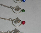 RESERVED Silver Bird with freshwater pearl drop necklace - red, emerald, OR cobalt blue