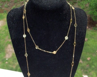 14K Gold Cougar Town Disc Necklace, 50 Inch, 60 Inch, Larger 6mm Discs, Jules Cobb, Courtney Cox, Long Wrapped Doubled Over Jewelry Chain
