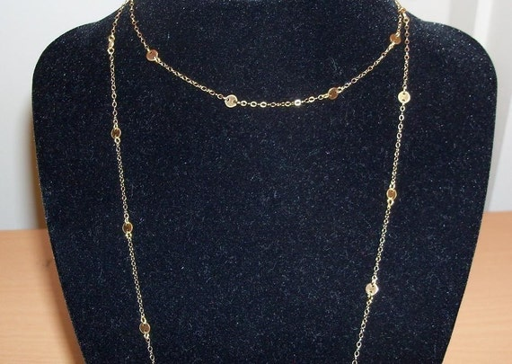 Cougar Town 14K Gold Disc 44 inch Necklace No Dangles Replica Jules Cobb