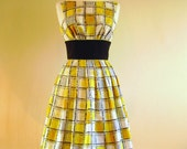 Size UK 12 (US 8-10) - Lemon Yellow Checked Prom Dress - Made by Dig For Victory