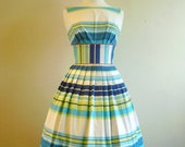 Blue and White Striped Summer Dress - size UK 10 - Made by Dig For Victory