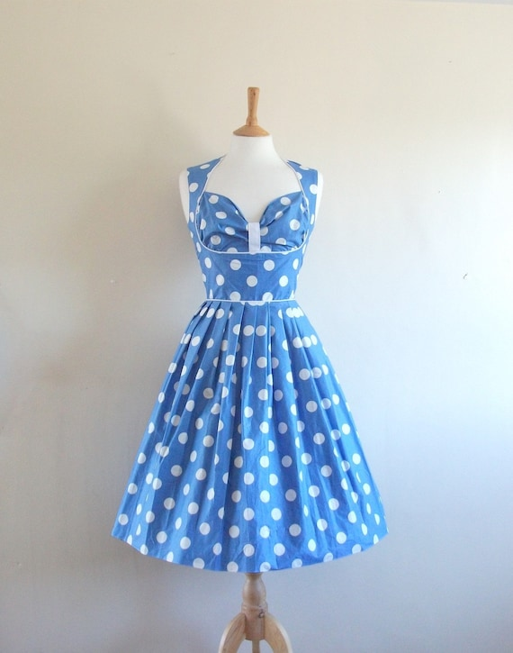 Size UK 12 (US 8-10) - Sale Price - Sky Blue Polkadot Prom Dress - made by Dig For Victory
