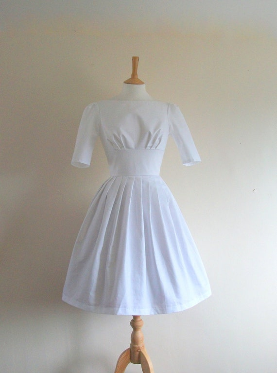 Size UK 10-12 (US 8) - Chalk White Cotton Prom Dress - made by Dig For Victory
