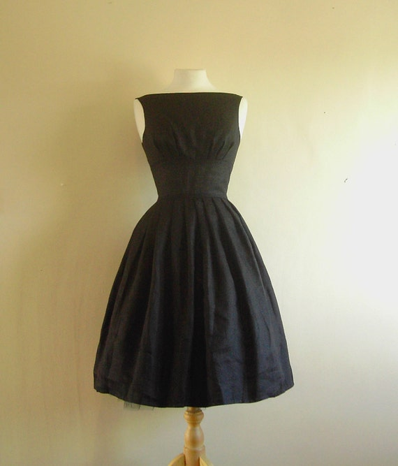 Black Linen Tiffany Prom Dress - Custom Order for Vanessa Stoneman. Made to Measure - by Dig For Victory