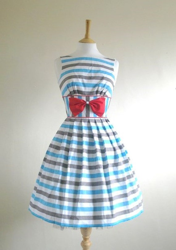 Size UK 8 (US 4-6) - Blue and White Striped Nautical Prom Dress - Made by Dig For Victory