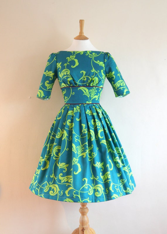 Size UK 8 (US 4-6) - Teal and Apple Floral Print Cotton Audrey Dress - Made By Dig For Victory