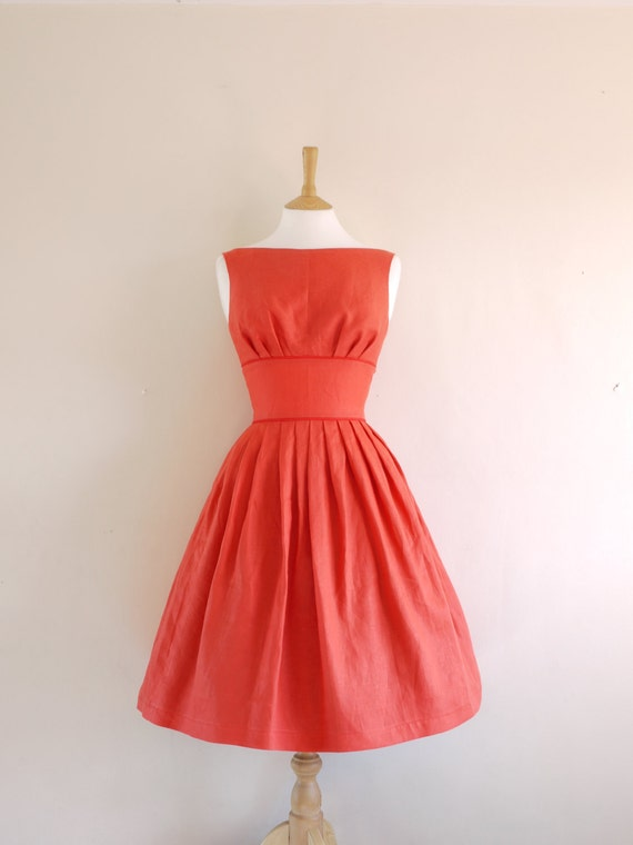 Red Linen Tiffany Prom Dress - made by Dig For Victory