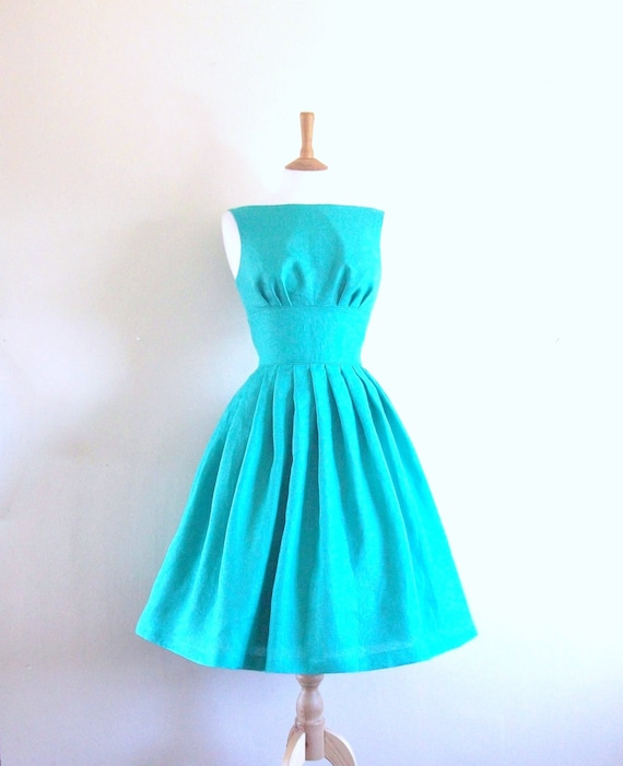 Aqua Blue Tiffany Prom Dress - Made to Measure - by Dig For Victory